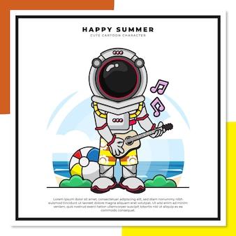우주 비행사의 귀여운 만화 캐릭터는 행복한 여름 인사와 함께 해변에서 기타 우쿨렐레를 연주하고 있습니다