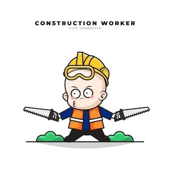 赤ちゃんの建設労働者のかわいい漫画のキャラクターは彼の手で2つの鋸を運んでいた