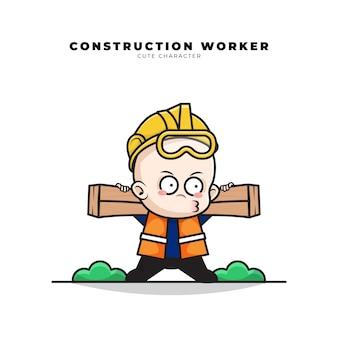 赤ちゃんの建設労働者のかわいい漫画のキャラクターは木を運んでいた