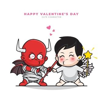 아기 커플 악마와 천사의 귀여운 만화 캐릭터