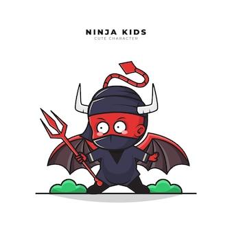 トライデントを保持している赤ちゃん忍者悪魔のかわいい漫画のキャラクター