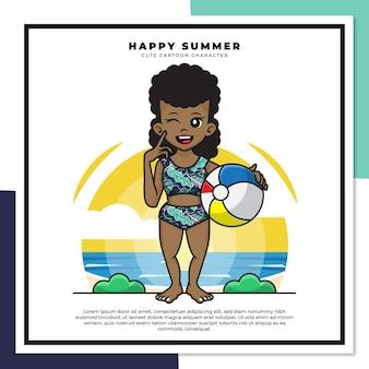 흑인 여자의 귀여운 만화 캐릭터는 행복한 여름 인사와 함께 해변에서 공을 들고있다