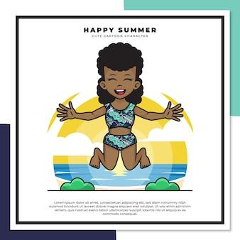 흑인 여자의 귀여운 만화 캐릭터가 행복한 여름 인사와 함께 해변에서 점프