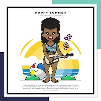 흑인 소녀의 귀여운 만화 캐릭터는 행복한 여름 인사와 함께 해변에서 기타 우쿨렐레를 연주하고 있습니다