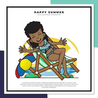 흑인 소녀의 귀여운 만화 캐릭터는 행복한 여름 인사와 함께 해변에서 휴식을 취했습니다.
