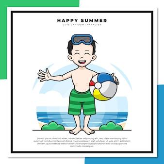 소년의 귀여운 만화 캐릭터는 행복한 여름 인사와 함께 해변에서 공을 잡고있다