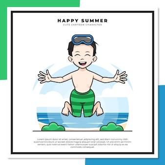 소년의 귀여운 만화 캐릭터는 행복한 여름 인사와 함께 해변에서 점프