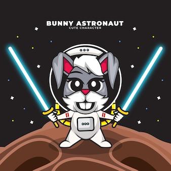 토끼 우주 비행사의 귀여운 만화 캐릭터는 두 라이트 세이버를 들고있다