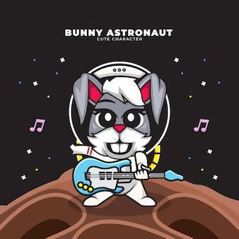 토끼 우주 비행사의 귀여운 만화 캐릭터는 기타를 연주