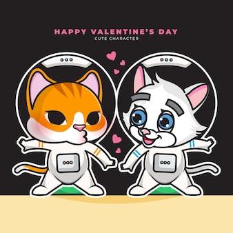 커플 우주 비행사 큐피드 고양이와 해피 발렌타인의 귀여운 만화 캐릭터