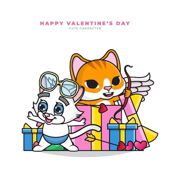 Милый мультипликационный персонаж пары котов купидона из подарочной коробки