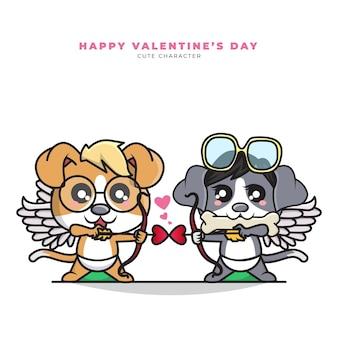 커플 큐피드 강아지와 해피 발렌타인의 귀여운 만화 캐릭터