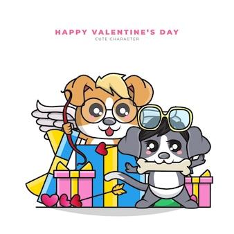 선물 상자에서 밖으로 몇 큐피드 강아지의 귀여운 만화 캐릭터
