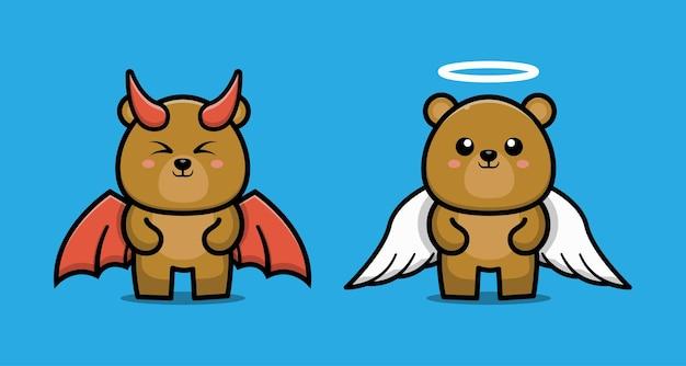 Милый мультипликационный персонаж пары медведь дьявол и медведь ангел