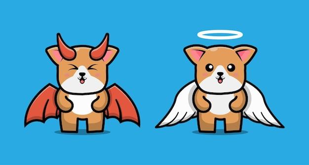 Милый мультипликационный персонаж пары дьявол собака и собака ангел