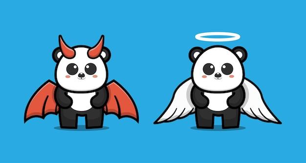 Милый мультипликационный персонаж пары дьявол панда и ангел панда
