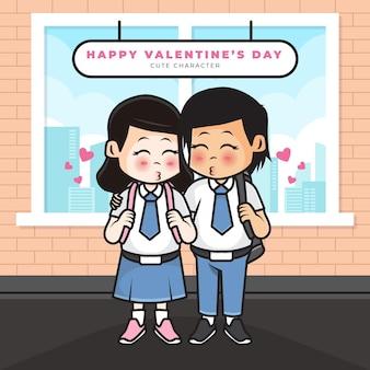 カップルの高校生とバレンタインデーの挨拶のかわいい漫画のキャラクター