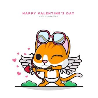 Милый мультипликационный персонаж кота купидона и счастливого дня святого валентина