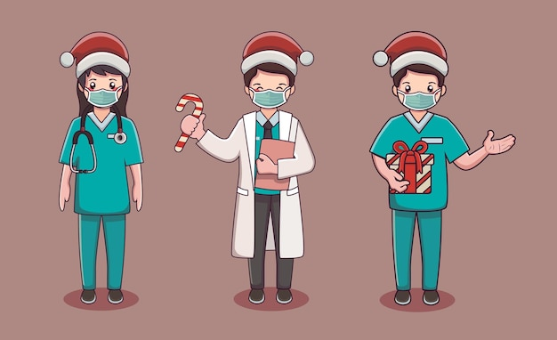 クリスマスの衣装と医療マスクを身に着けている医師と看護師のかわいい漫画のキャラクター
