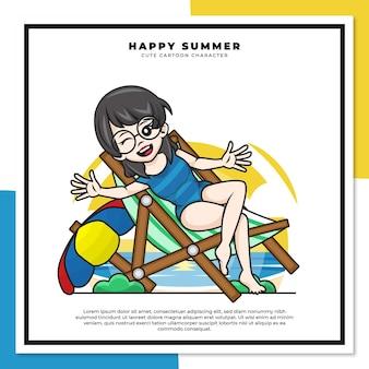 소녀의 귀여운 만화 캐릭터는 행복한 여름 인사와 함께 해변에서 휴식을 취했습니다.