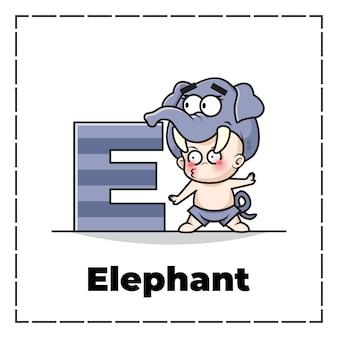 Симпатичный мультяшный персонаж из начальной буквы e с ребенком в костюме слона