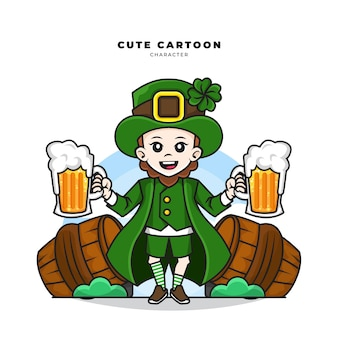 Симпатичный мультипликационный персонаж концепции дня лепрекона святого патрика, держащий пиво в стакане