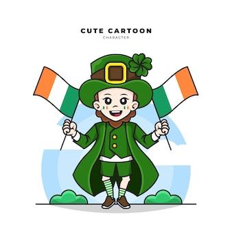 아일랜드 국기를 들고 요정 세인트 패트릭 데이 개념의 귀여운 만화 캐릭터