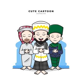 イスラム教徒の男性のかわいい漫画のキャラクターが会衆で祈る