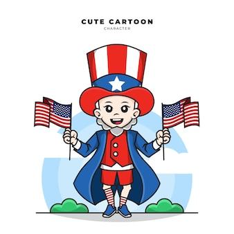 アメリカ合衆国の旗を保持しているアンクルサムのかわいい漫画のキャラクター