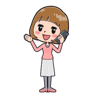 呼び出しのジェスチャーで若い女性のかわいい漫画のキャラクター。