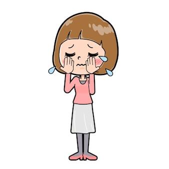 외침의 몸짓으로 젊은 여자의 귀여운 만화 캐릭터.