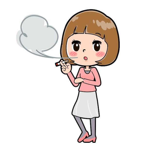 흡연의 제스처와 젊은 여자의 귀여운 만화 캐릭터.