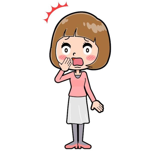 驚きのジェスチャーで若い女性のかわいい漫画のキャラクター。