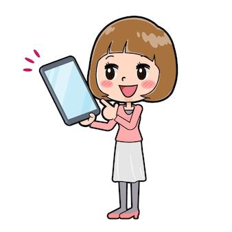 태블릿 포인트의 제스처와 젊은 여자의 귀여운 만화 캐릭터.