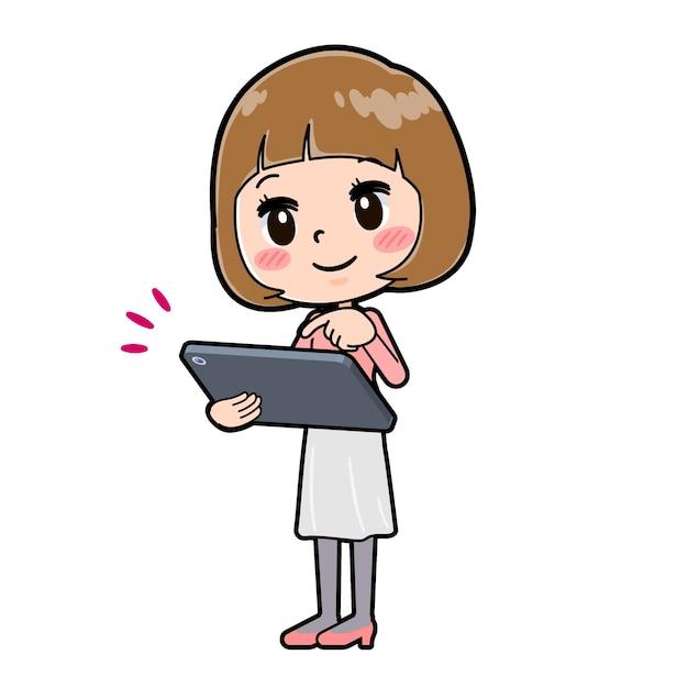 タブレットタッチのジェスチャーで若い女性のかわいい漫画のキャラクター。