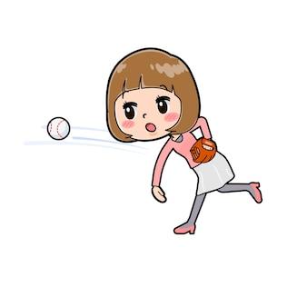 공을 던져 제스처와 젊은 여자의 귀여운 만화 캐릭터.