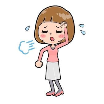 疲れたジェスチャーで若い女性のかわいい漫画のキャラクター。