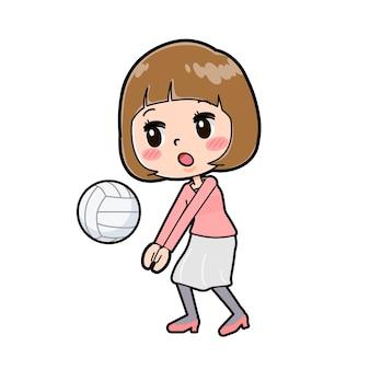バレーボールのジェスチャーで若い女性のかわいい漫画のキャラクター。