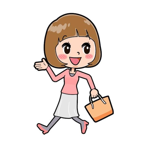 가방 산책의 제스처와 젊은 여자의 귀여운 만화 캐릭터.