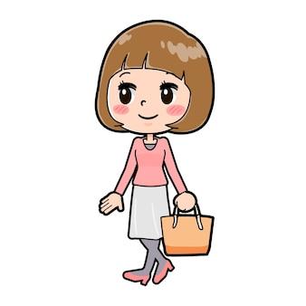 걷는 제스처와 젊은 여자의 귀여운 만화 캐릭터.