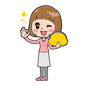 지갑 확인 제스처와 젊은 여자의 귀여운 만화 캐릭터.