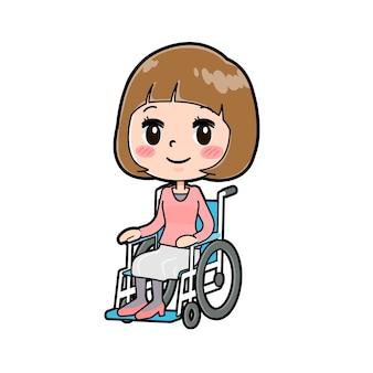 휠체어의 제스처와 젊은 여자의 귀여운 만화 캐릭터.