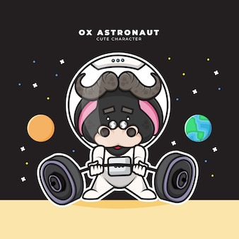 Cute cartoon character of ox astronaut is lifting a barbell Premium Vector