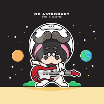 Cute cartoon character of ox astronaut playing guitar