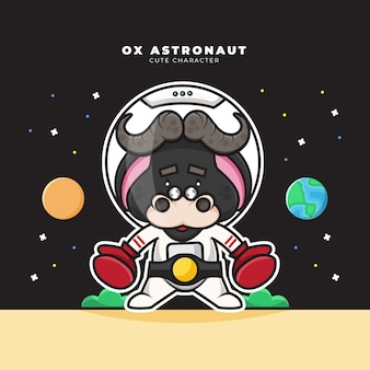 Cute cartoon character of ox astronaut wears boxing gloves and boxing champion belt