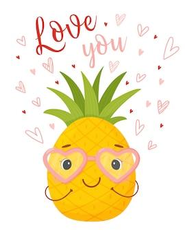 Милый мультипликационный персонаж ананас в очках из сердец