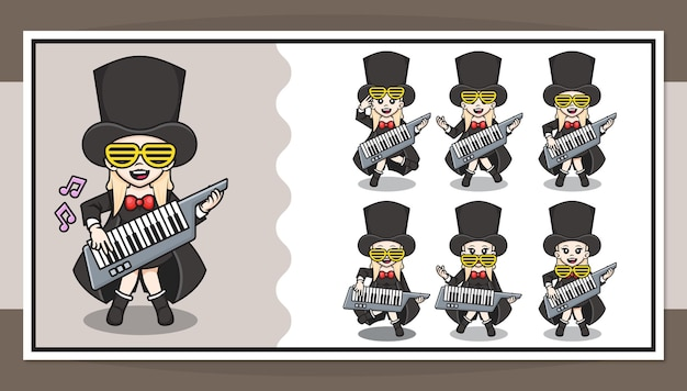 Cute cartoon character of rockstar girl playing piano guitar with step by step animation