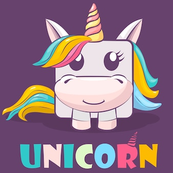 Cute cartoon character square unicorn and logo.
