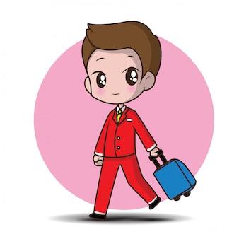 Cute cartoon character stewardess.