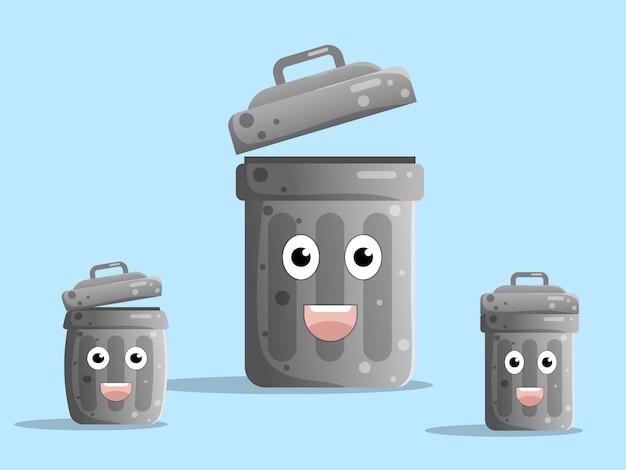 Милый мультипликационный персонаж мусорное ведро, мусорная корзина плоский дизайн иллюстрация